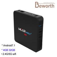 android video player 3d großhandel-2.4G / 5G Doppelband-Wifi-Fernsehapparat-Kasten Androides 8.1 RK3328 Viererkabel-Kern 4GB 32GB 4K Media Player Bluetooth MXR Pro plus 4G32G TVbox 3D Video