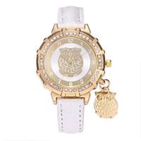ingrosso owl a forma di orologio-Orologio da polso da uomo al quarzo con cinturino in pelle di colore oro e cristallo