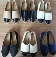 42 chaussures achat en gros de-New Fashion Toile et Real Lambskin Femme Espadrilles Chaussures Plates Eté Mocassins Espadrilles Taille EUR34-42 Beaucoup de Couleurs avec Boîte