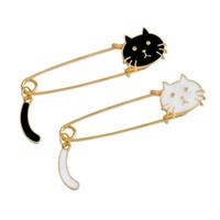 Wholesale Diy Metal Badges - Wholesale- Cute Cartoon Black White Cat Kitten Face & Tail Metal Brooch Pins DIY Sweater Pin Badge Gift Jewelry for women girl kids