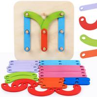 ingrosso giocattoli forma di costruzione-Building Block giocattoli per bambini in legno per bambini DIY primi giochi educativi di puzzle lettere numero forma Colonna giocattolo manica