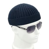 iplik şapkaları toptan satış-LEON Yetişkin Erkekler Örme Skullcap Rahat Kısa Pamuk Ipliği Hip Hop Şapka Bere Skullcap Retro Donanma Moda Sıcak Beanie