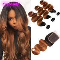 insan saçı üç parçalı kapanır toptan satış-Kapatma Orta Üç Serbest Bölüm ile 4X4 Dantel Kapanış 4 adet / lot Vücut Dalga 1B / 30 Paketler Peru İnsan Saç Paketler Ombre Saç