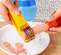 mejores cuchillos afilados al por mayor-Plátano Slicker Cut Knives Fruit Ham Salchicha Slice Kit Creative Home Bar BBQ Accesorios para hornear Herramienta de cocina