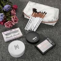 maange escova conjunto venda por atacado-MAANGE 6 Pcs Kit de Maquiagem Sombra de Olho Cílios Postiços Pie Esponja De Mármore Escovas Cosméticos Make Up Bag Set