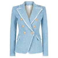 vestes à franges achat en gros de-HIGH STREET Nouvelle Mode 2018 Designer Blazer Femmes Double Boutonnage Lion Boutons Gland Frange Tweed Blazer Veste S18101304
