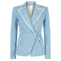 saçak ceketleri toptan satış-YÜKSEK SOKAK Yeni Moda 2018 Tasarımcı Blazer kadın Kruvaze Aslan Düğmeleri Püskül Fringe Tüvit Blazer Ceket S18101304