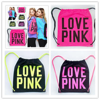 Wholesale japan school bags - Pink Drawstring Bag Backpacks Women LOVE PINK School Bags Pink Letter Storage Bags Fashion Canvas Handbags Shopping Bags