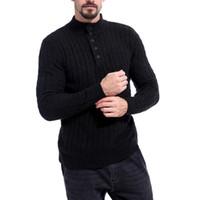 ropa coreana más tamaño al por mayor-GNIBIEL 2018 Otoño Ropa de Hombre Caída Suéter de Cuello Alto Hueco Talla Extra Cardigan Corea Slim Fit Casual Suéter de Punto Abrigo