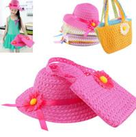 Wholesale straw handbags wholesale - Kids Girl Flower Hats Handbag Suit Straw Hat Beach Cap Straw Flower Sun Hat beach Bag KKA4392