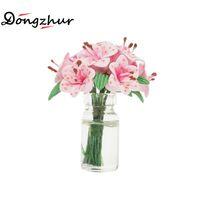 accesorios de la casa rosa al por mayor-Dongzhur Doll House Toy Mini Flower Pink Lily Glass Bottle Arreglo Floral Dollhouse Muebles Miniaturas 1:12 Accesorios