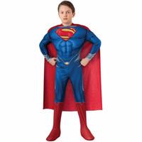 alta qualidade miúdos trajes venda por atacado-Crianças de alta qualidade Superman Cosplay Roupas Halloween Costume For Kids Y1891202