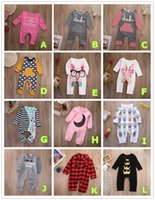 Wholesale Denim Long Sleeve Jumpsuit - Fashion Jumpsuit Baby Romper Cotton Pajamas Christmas Bodysuit Plaid Crown Striped Pink Red Boy Girl Kid Clothing Outfits 0-24M Toddler Suit