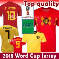 Wholesale red home soccer jersey - Belgium Soccer jersey 2018 world cup Home 7 DE BRUYNE 10 E.HAZARD de foot 9 LUKAKU 4 KOMPANY 14 MERTENE Red Football uniforms kits shirt