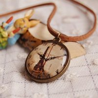 watch pendants Australia - Personality Popular Antique Pocket Watch Vintage Tower Handmade Female Gift Pendant Necklaces NE028