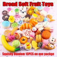 Wholesale giant pandas toys online - 10pcs mobile phone cute soft straps giant Panda PAN Donut ice cream phone keychain decoration squishies toys present