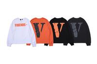 pfirsich weiß anzüge großhandel-Vlone FREUNDE Langärmeliges T-Shirt Pop-Männer-Frauen-Qualitäts-Freund-LOGO großes V-T-Shirt Hip-Hophemd 4 Farben