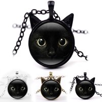 Wholesale cat ear glasses - Black Cat Glass Cabochon Necklace Silver Bronze Car Ear Frame Pendants Fashion Jewlery for Women Kids DROP SHIP 162596
