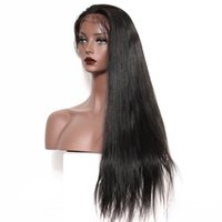 Wholesale straight brazilian wig cap online - Black White Woman Density Straight Wig Remy Vrigin Wigs Natural Color Brazilian Human Hair Front Lace Cap Swiss Lace Free Shipp