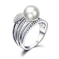 ingrosso grandi anelli economici-Anello New Leaf con grande gioiello bianco alla moda alla moda all'ingrosso dropshipping anel aneis gioielli femminili anelli in ottone