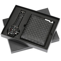 erkekler için en iyi doğum günü hediyesi toptan satış-Üst Marka Lüks Erkek İzle Kuvars Saatı Cüzdan Hediye Seti Erkek Arkadaşı için Iş Moda erkek Saatler En Iyi Doğum Günü Hediyesi