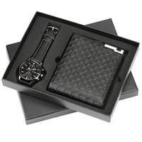 bracelets de petit ami achat en gros de-Top Mens Quartz Montres-bracelets Wallet Set cadeau pour petit ami d'affaires Mode Hommes Montres meilleur cadeau d'anniversaire