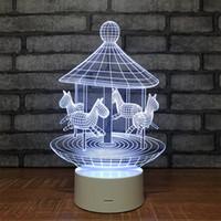 diseña luz nocturna para niños al por mayor-Novedad Night Light Change Color 3D Carrousel Design para niños 7 colores Bedside Lamp Switch Touch Control remoto 38cs gg