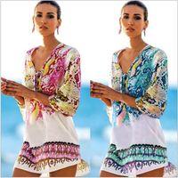 Wholesale irregular pattern - Women Bikini Coverup Vintage Beach Dress with Half Sleeve Serpentine Pattern Irregular Hem Dresses Female Floral Cover-up Robe Beachwear