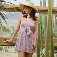 maiô roupa de banho venda por atacado-Mulheres verão um pedaço swimsuit halter backless dress maiô contornado maiô jovem meninas beach wear