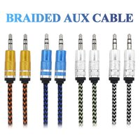 Wholesale Iphone Digital Cable - Braided Aux Cable 3.5mm Male To Male Metal Connector Stereo Audio Cable For Iphone Samsung MP3 Speaker Tablet PC CellPhone Digital Device