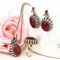 Wholesale heart resin ring - Jewelry Sets - Chocker Ring Chandelier Sets Vintage Red Resin Golden Plated Necklaces Pendants Resin Dangle Earrings