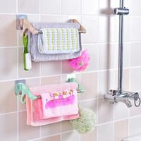 Wholesale Wholesale Towel Racks - Fashion creative drawing pattern seamless double towel bar strong straight glue seamless double towel rack towel storage rack