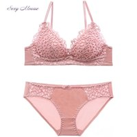 Wholesale bra embroidery design for sale - Group buy Sexy Mousse Lace sexy ladies underwear set breathable temptation embroidery bra set small chest gather Bras thin cup design