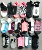 Wholesale sexy baseball online - Pink Women Ankle Socks Cotton Towel Socks Sports Running Anklet Love Pink Letter Hosiery Sock Slippers Sexy Ship Socks Sneaker Stockings