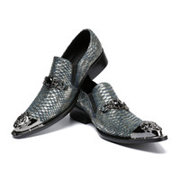 Wholesale party evening dress silver shoes for sale - Group buy Christia Bella Handmade Pointed Toe Sliver Metal New Leather Men Dress Shoes Evening Party Wedding Shoes Hairdress Sexy Shoes