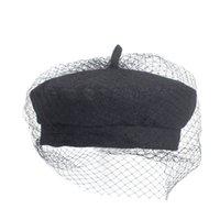 шляпа черных художников оптовых- 2018 Early Autumn New Star Handmade Denim Mesh Beret British Retro Wild Painter Hat Black Berets For Women Female Beret