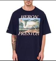 camisa da marinha dos homens venda por atacado-Heron preston Letra Impressa Homens Marinha Branco de Manga Curta T Shirt Hip Hop Casual T-Shirts de Algodão Tee Tops