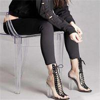 ingrosso sbirciare le donne sexy dei sandali di modo-Fashion Womens Sandals Sexy PVC trasparente Peep Toe Lace Up Clear Block Chunky tacco caviglia Bootie Taglia 35 a 39