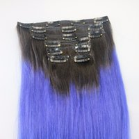 Wholesale ombre brazilian clip hair extensions resale online - Cheap Two Tone Ombre Clip In Indian Remy Human Hair Extensions g T1b Blue Straight Clip Ins
