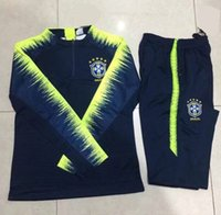 Wholesale brazil brazilian - Survêtements Brazil world cup Bresil 2018 Brazilian Maillot de foot Neymar brasil trainingspak Soccer Jogging Football men track suit