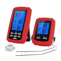 indicateur de barbecue achat en gros de-Thermomètre de viande de cuisine sans fil à distance de 300ft pour le four / BBQ / fumoir / gril / avec la minuterie Digital thermomètre de mesure de température de thermomètre de BBQ