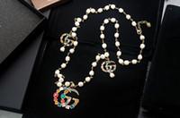 neue perlenhalskettenentwürfe großhandel-Neue Mode Top Qualität Promi Design Luxus Brief Perle Diamant Halskette Metall Brief Leopard Nieten Halskette Schmuck Mit Box