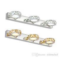 espejos de baño largos al por mayor-Lámpara de espejo de cristal K9 luces de baño redondas 16/32/46/62 cm Champagne largo / Blanco LED luz de pared aplique de pared iluminación