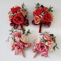 ingrosso bouquet prom-Wedding Favore Decor Corsage Flower Handmade Prom Seta artificiale Rose Pin Fiori Sposa Damigella d'onore Decorazione Bouquet Vendita calda 6 8hy YY