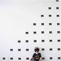 autocollants super-héros 3d achat en gros de-Stickers Pas Cher Stickers Super Hero Batman Masque Amovible Stickers Pour Enfants Pépinière Décor À La Maison Black Hero Sticker Mural Pour Enfants