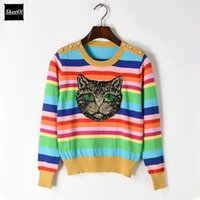 Wholesale sweater rainbow woman - Spring Sweater Female Pullovers Cat Pattern Jacquard Stripe Rainbow Sequins Knitted Sweaters Runway Designer Tops Jumper