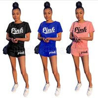 Wholesale women s track suits - Pink Letter Tracksuit Love Pink Letter Shirt Shorts Set Body Track Suit Set Summer Sportswear Suit Gym Clothing OOA5230