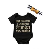 печать на ленте оптовых-Cute Newborn Baby Girls Short Sleeve Romper Grandpa Grandma Letter Printing Playsuit Sunsuit+Striped Headband Outfit Clothes