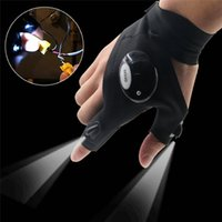 Wholesale fingerless climbing gloves - Outdoor Fishing Magic Strap Fingerless Glove LED Flashlight Torch Cover Survival Camping Hiking Rescue Tool Light