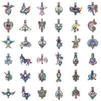colgantes de cuentas de colores al por mayor-400 estilos para que elijas - Rainbow Colored Oyster Pearl Beads Jaula Esencial Difusor de aceite Montajes Locket Pendientes abiertos Joyería DIY